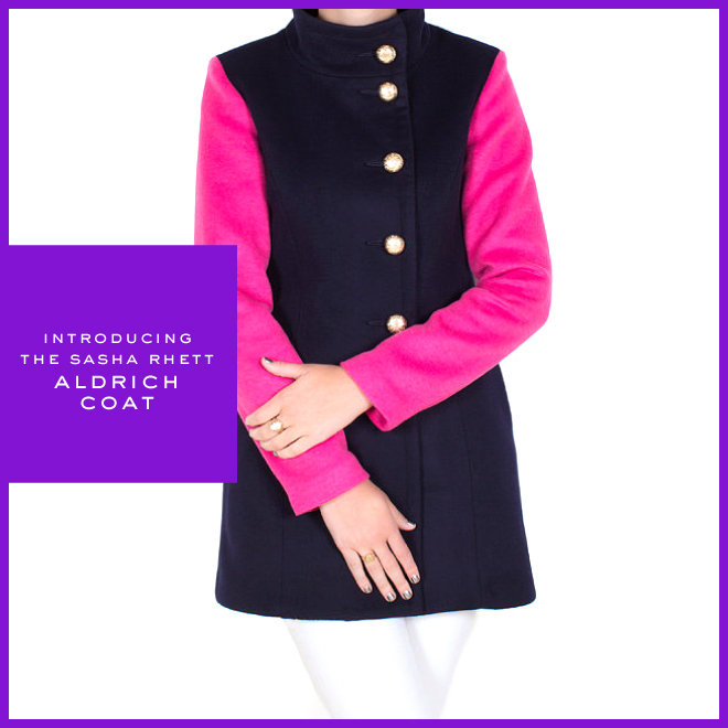 Sasha Rhett Outerwear - Navy and Pink Two-Toned Military Style Coat