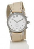 Stainless Steel Round Watch with Double Wrap Strap - Nude Leather