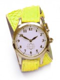 Gold Round Watch with Double Wrap Strap - Neon Yellow Snakeskin