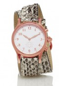 Rose Gold Round Watch with Double Wrap Strap - Natural Snakeskin