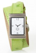 Stainless Steel Rectangular Watch with Double Wrap Strap - Light Green Ostrich