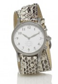 Stainless Steel Round Watch with Double Wrap Strap - Natural Snakeskin