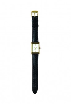 Tank Watch with Single Wrap Strap - Black Snakeskin (Gold)