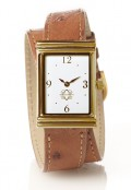 Gold Rectangular Watch with Double Wrap Strap - Brown Ostrich