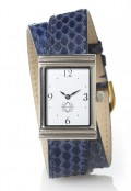 Stainless Steel Rectangular Watch with Double Wrap Strap - Navy Snakeskin