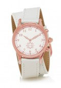 Rose Gold Round Watch with Double Wrap Strap - White Leather