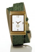 Gold Rectangular Watch with Double Wrap Strap - Green Snakeskin