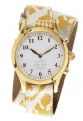 Gold Round Watch with Double Wrap Strap - Yellow and Blue Ikat