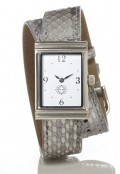 Stainless Steel Rectangular Watch with Double Wrap Strap - Silver Snakeskin