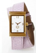 Gold Rectangular Watch with Double Wrap Strap - Lavender Snakeskin