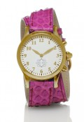 Gold Round Watch with Double Wrap Strap - Pink Snakeskin
