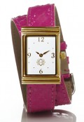 Gold Rectangular Watch with Double Wrap Strap - Pink Snakeskin
