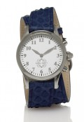 Stainless Steel Round Watch with Double Wrap Strap - Navy Snakeskin