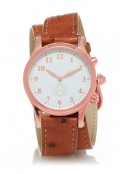 Rose Gold Round Watch with Double Wrap Strap - Brown Ostrich