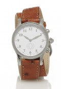 Stainless Steel Round Watch with Double Wrap Strap - Brown Ostrich