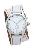 Stainless Steel Round Watch with Double Wrap Strap - White Leather Orange