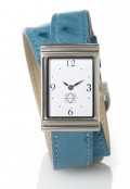 Stainless Steel Rectangular Watch with Double Wrap Strap - Turquoise Ostrich
