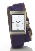 Stainless Steel Rectangular Watch with Double Wrap Strap - Purple Snakeskin