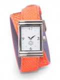 Stainless Steel Rectangular Watch with Double Wrap Strap - Neon Orange Snakeskin