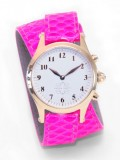 Gold Round Watch with Double Wrap Strap - Neon Pink Snakeskin