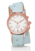 Rose Gold Round Watch with Double Wrap Strap - Light Blue Ostrich