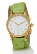 Gold Round Watch with Double Wrap Strap - Light Green Ostrich