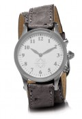 Stainless Steel Round Watch with Double Wrap Strap - Grey Ostrich
