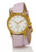 Gold Round Watch with Double Wrap Strap - Lavender Snakeskin