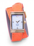 Gold Rectangular Watch with Double Wrap Strap - Neon Orange Snakeskin