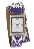 Stainless Steel Rectangular Watch with Double Wrap Strap - Purple and Pink Ikat