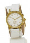 Gold Round Watch with Double Wrap Strap - White Leather