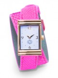Gold Rectangular Watch with Double Wrap Strap - Neon Pink Snakeskin