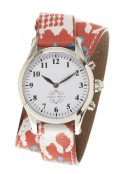 Stainless Steel Round Watch with Double Wrap Strap - Orange and Turquoise Ikat