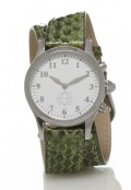Stainless Steel Round Watch with Double Wrap Strap - Green Snakeskin
