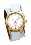 Gold Round Watch with Double Wrap Strap - White Leather Turquoise