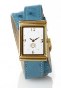 Gold Rectangular Watch with Double Wrap Strap - Turquoise Ostrich