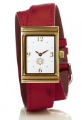 Gold Rectangular Watch with Double Wrap Strap - Red Ostrich