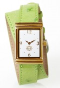 Gold Rectangular Watch with Double Wrap Strap - Light Green Ostrich