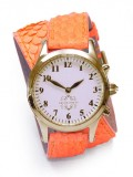Gold Round Watch with Double Wrap Strap - Neon Orange Snakeskin