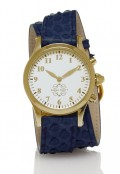 Gold Round Watch with Double Wrap Strap - Navy Snakeskin
