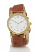 Gold Round Watch with Double Wrap Strap - Brown Ostrich