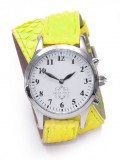 Stainless Steel Round Watch with Double Wrap Strap - Neon Yellow Snakeskin
