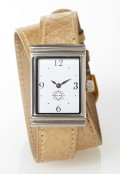Stainless Steel Rectangular Watch with Double Wrap Strap - Gold Snakeskin
