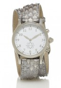 Stainless Steel Round Watch with Double Wrap Strap - Silver Snakeskin