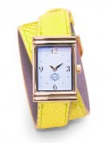 Gold Rectangular Watch with Double Wrap Strap - Neon Yellow Snakeskin