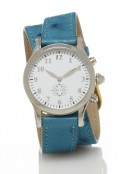 Stainless Steel Round Watch with Double Wrap Strap - Turquoise Ostrich