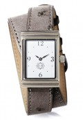 Stainless Steel Rectangular Watch with Double Wrap Strap - Grey Ostrich