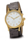 Gold Round Watch with Double Wrap Strap - Grey Ostrich