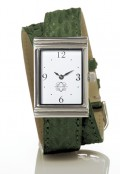 Stainless Steel Rectangular Watch with Double Wrap Strap - Green Snakeskin