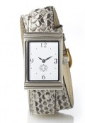 Stainless Steel Rectangular Watch with Double Wrap Strap - Natural Snakeskin